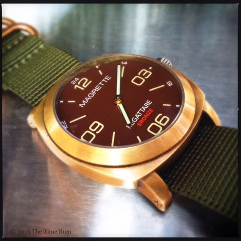 Magrette Regattare Bronze on Crown and Buckle Bronze HD NATO Strap