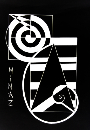 Golden triangle, rectangle  and circle spiral design by Minaz Jantz