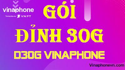 Đỉnh 30G, Gói D30G  Vinaphone Tặng 30GB data 3G,4G, Không ngưng truy cập
