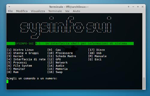 Sysinfo Sui su Arch Linux