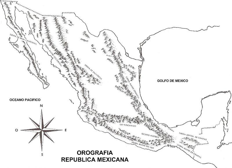 為孩子們的著色頁 Mapa De Las Montañas De México Orografía