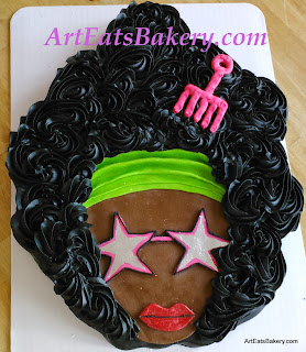 70's retro ladies birthday cake with star sunglasses, big hair and afro pick