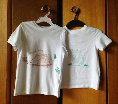 hedgehog, snail, child's drawings, t-shirts, crafts, fabric markers