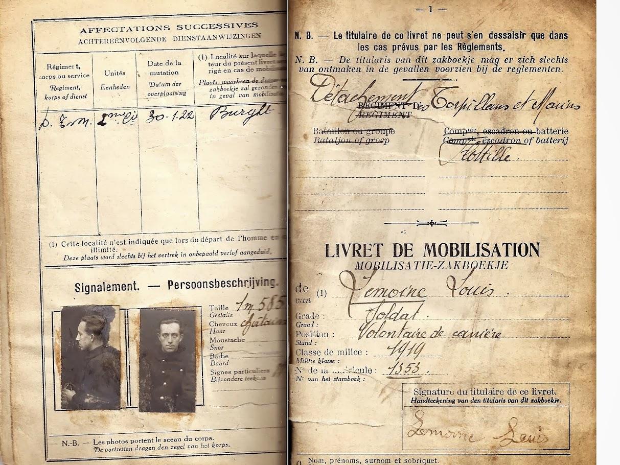 PASPORT TORPILLEURS MARINS 1919 Livret+mobilisation