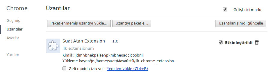 Yüklenmiş Chrome Extension'u