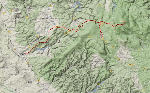 Wanderroute von Osetrode zum Brocken und über den Oderteich zurück nach Osterode