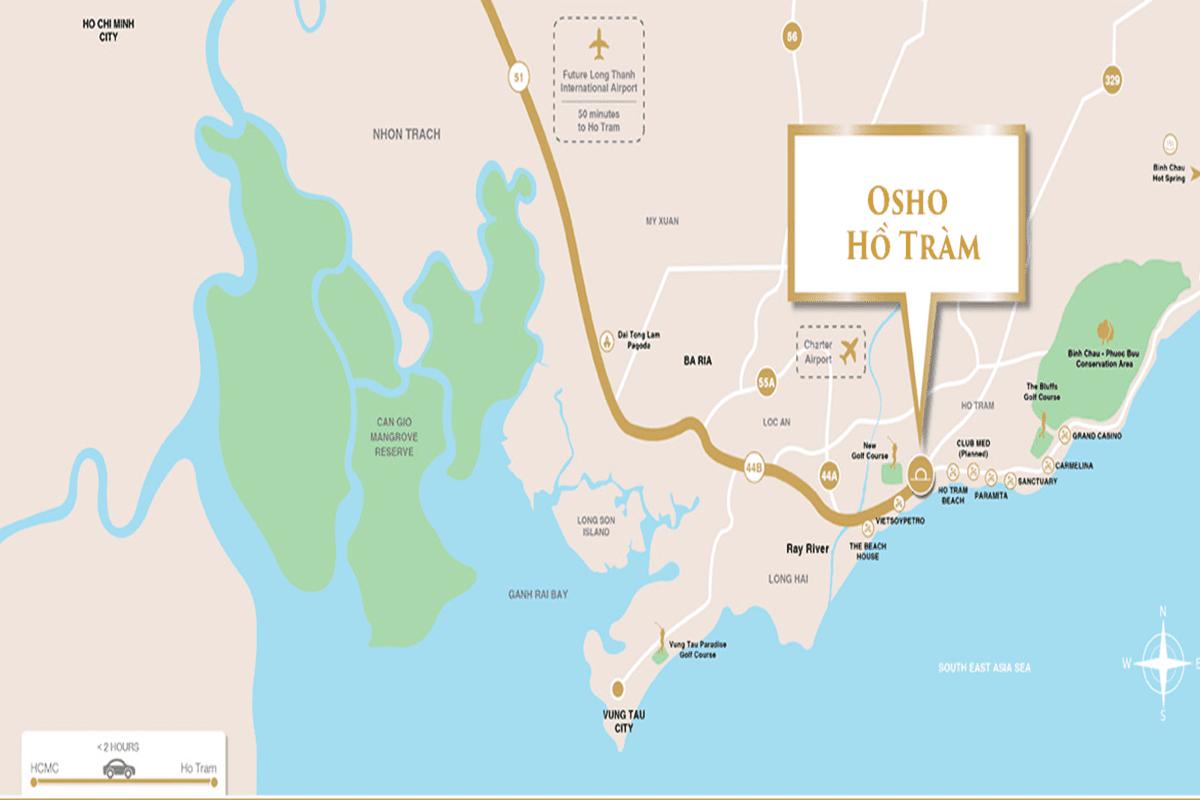 Vị trí Osho Hồ Tràm