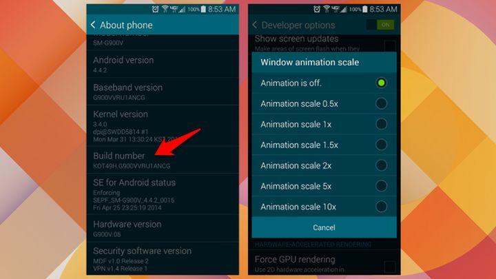 accesso opzioni dedicate agli sviluppatori - disattivazione animazioni Android