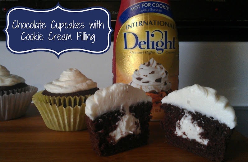 "Chocolate Cupcakes with Cookie Cream Filling Made with ID Cold Stone Creamery ""Hot for Cookie"" Creamer #IScream4ID"