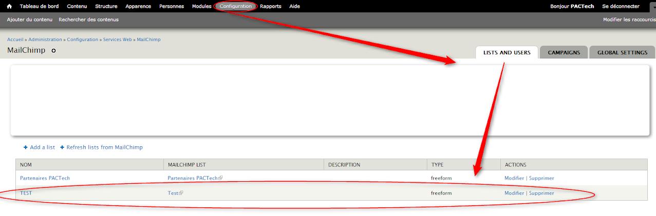 Mailchimp Liste Drupal NewsLetter Emailing ExpertE Formation RougeOrangeVert