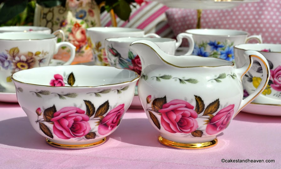 Royal Vale pink rose milk jug and sugar bowl