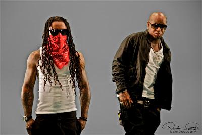 Foto de Lil Wayne Mack Maine, Marley G, Birdman y Ace Hood grabando el video de Hustle Hard Remix