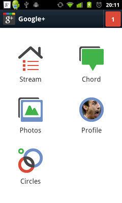 Home interface - Google+ 2.0 for Android