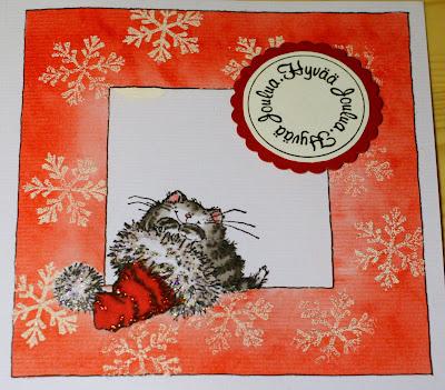 Kissa tonttulakissa -joulukortti