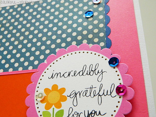 card blue orange pink love card echo park paper doodlebug design die cut sequins