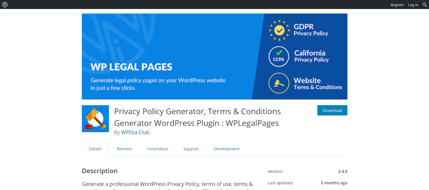 WP Legal Pages: Privacy Policy Generator, Terms & Conditions Generator WordPress Plugin