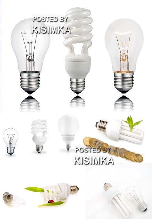 Stock Photo: Usual and power saving up bulbs
