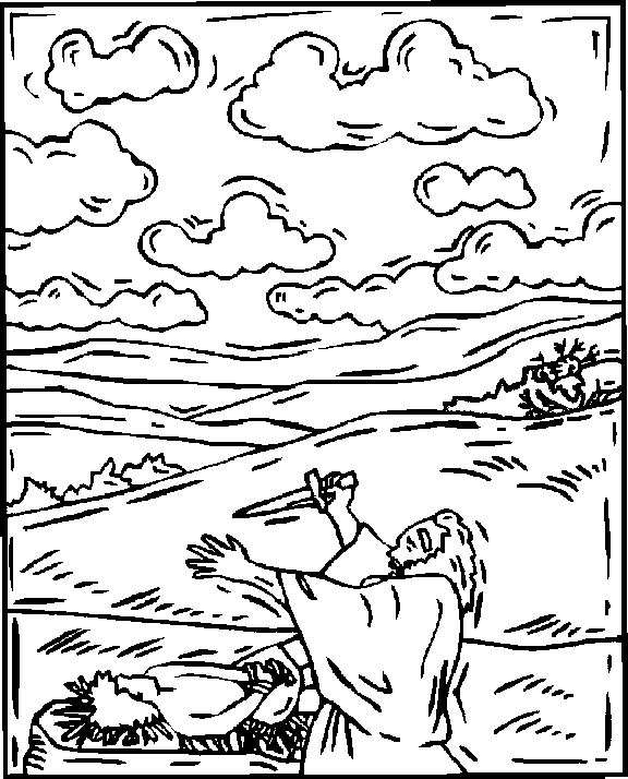 Abraham sacrifica a Isaac para colorear