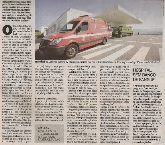 Lamego tem um hospital novo mas falta médicos e camas - Jornal de Notícias