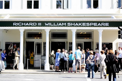 The Old Vic Theatre in London England with a sign for Richard III