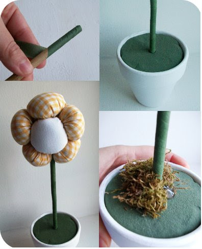 vaso com flor de fuxico