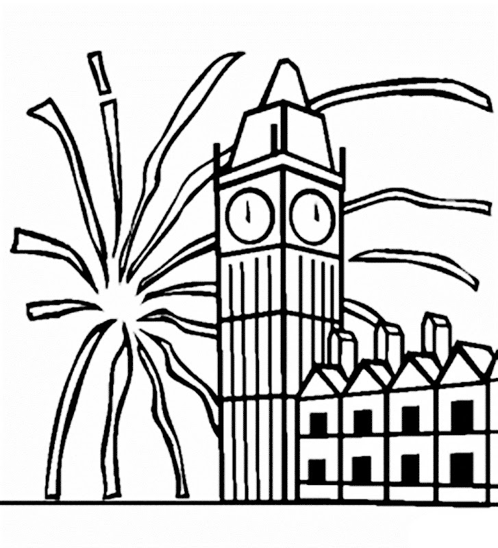 Images of firework in New year coloring pages