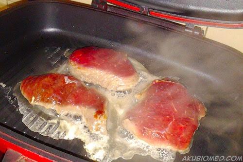 daging salai dengan pemanggang happy call