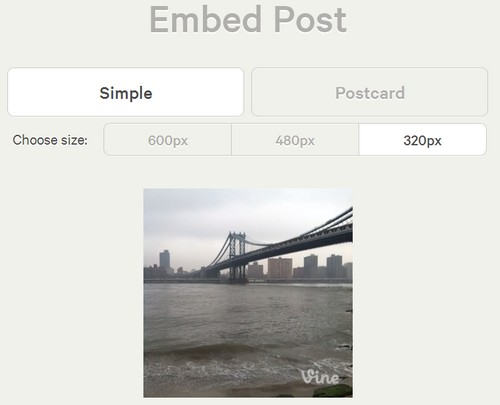 Vine has been offering web embed feature for some months