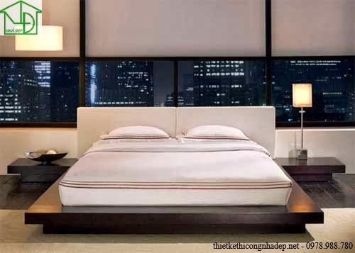 Giường ngủ kiểu dáng hiện đại sử dụng với đệm hộp