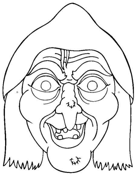 Máscara de bruja para colorear