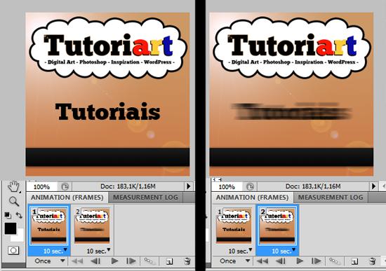 Frames 1 e 2, com respectivas camadas de texto visíveis ou não