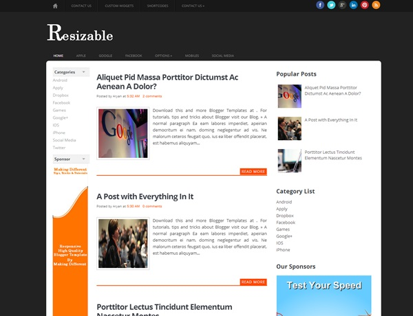 Resizable free blogger template download