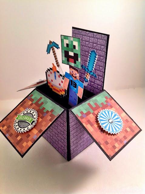 inkypinkies minecraft birthday card in a box  th birthday, Birthday card
