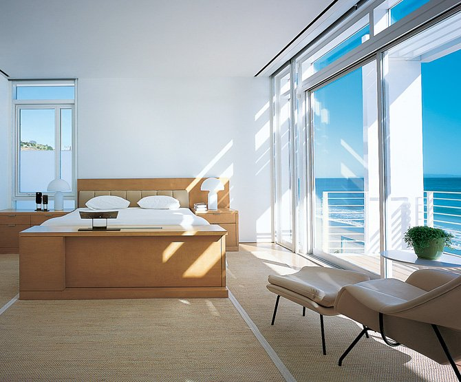 Minimal Modern Bedroom With Vico Magistrettis Atollo Lamps Available From Nova68