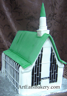 3D unique custom white church with green roof Groom's cake idea picture