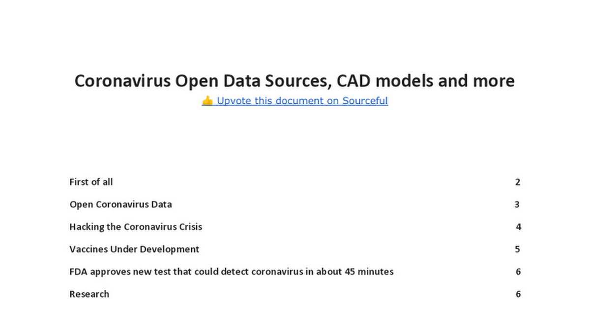Coronavirus Open Data Sources, CAD models and more