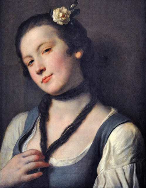 Pietro Antonio Rotari - A Girl with a Flower in her Hair (1762).