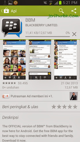 Proses Download Aplikasi BBM For Android