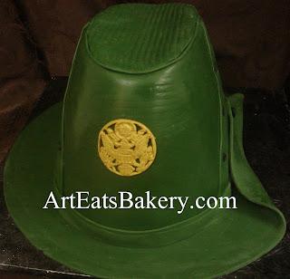Custom creative unique sculpted female Army Drill Sargent green fondant graduation cake design idea picture