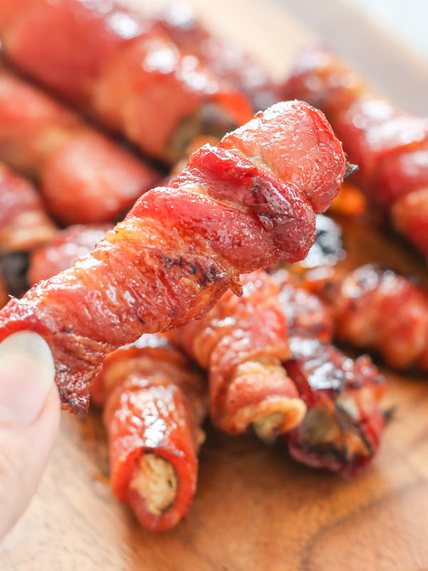 close-up photo of one bacon-wrapped eggplant fry