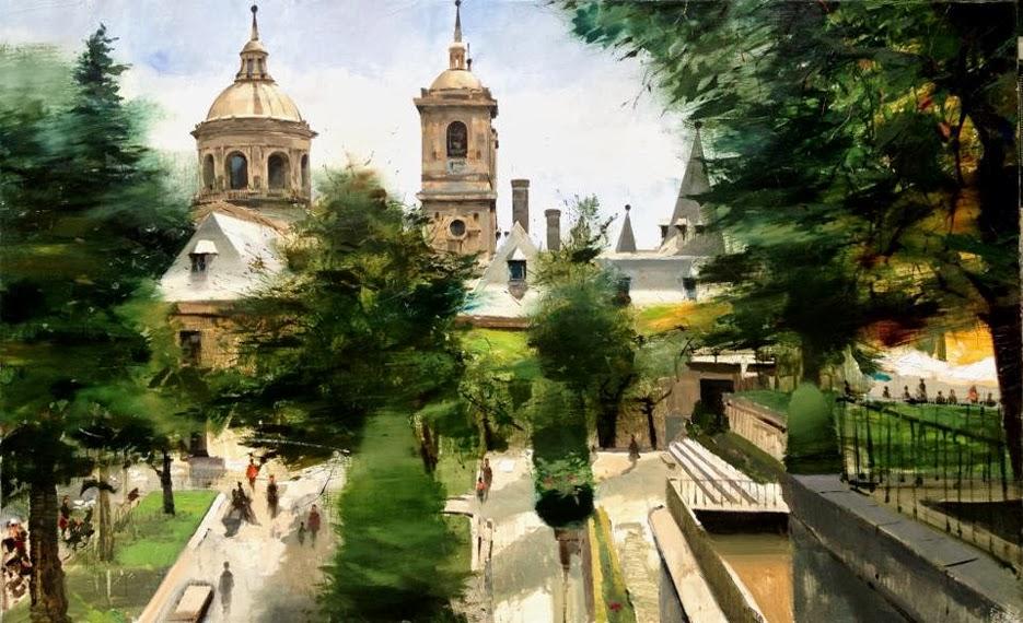 Pintura en óleo San Lorenzo de El Escorial,de Cristóbal Perez  Garcia
