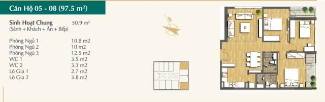 Thiết kế căn hộ 05-08 (97,5m2)