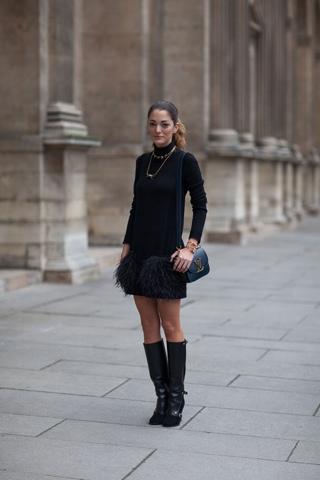 Черный джемпер с юбкой