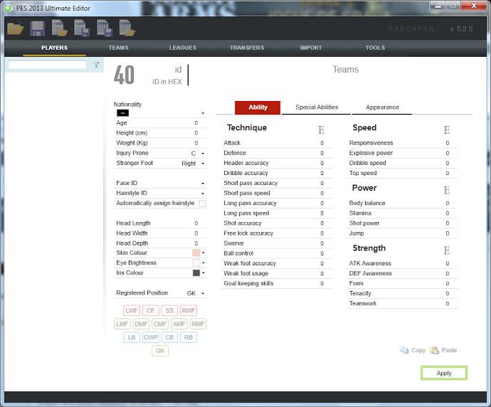 PES Ultimate Editor 5.3.5 - PES 2013