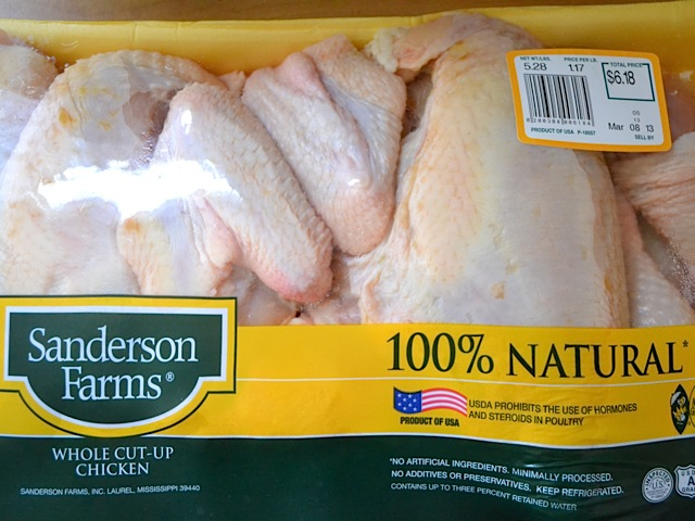 cut chicken in packaging
