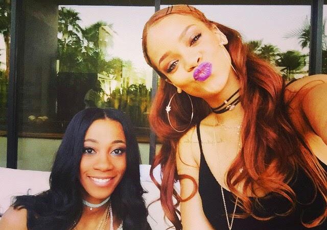 Rihanna attends Coachella in Jacquie Aiche and KTZ