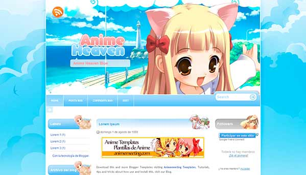 anime blogger template Anime Heaven Blue