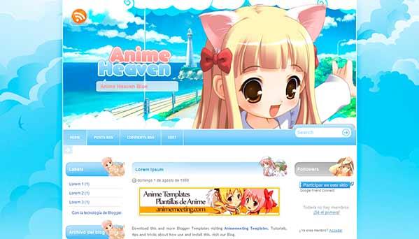 anime blogger template Anime Heaven Blue