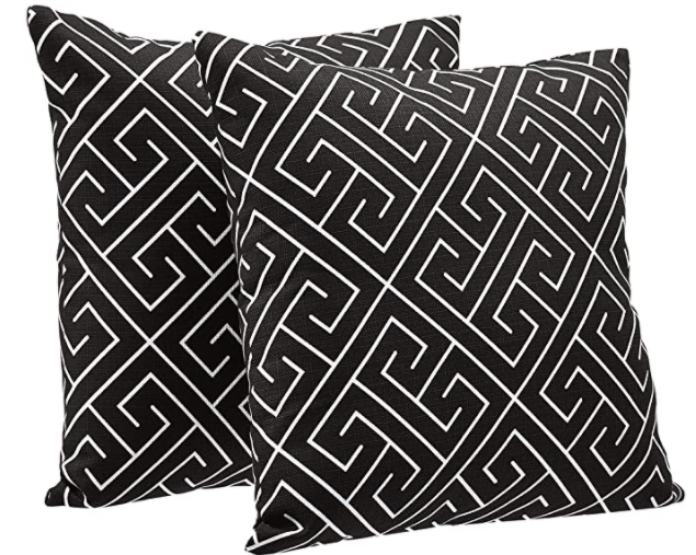 amazon basics 2 pack linen throw pillows black geometric