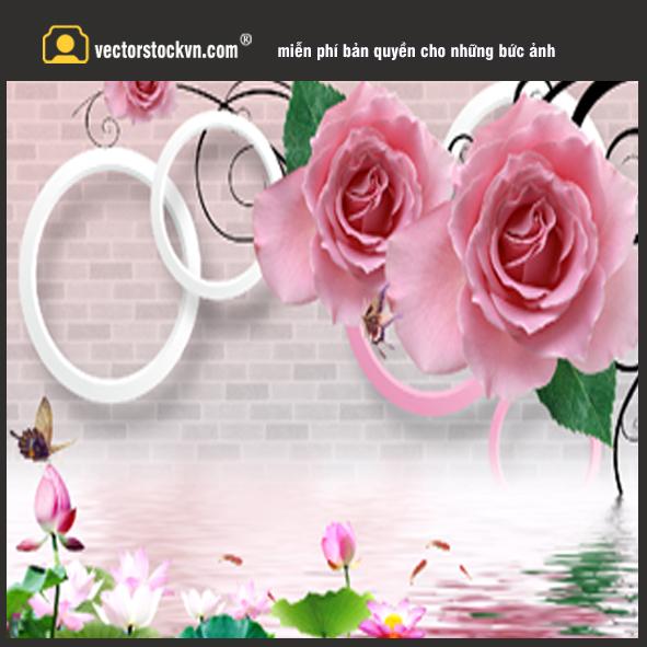 3D艺术玫瑰花瓣背景墙装饰画图片